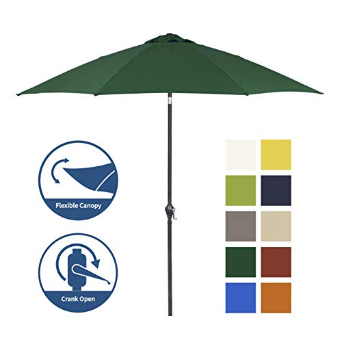 Shade Basics 9' Rd Crank Open Tiliting Patio Umbrella, Aluminum Frame, Fiberglass Ribs, Forest Green