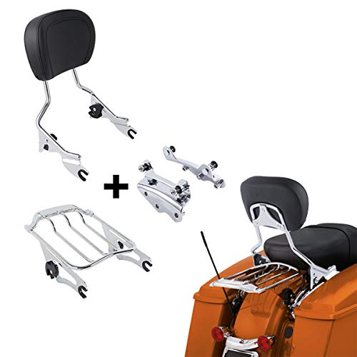 XFMT Detachable Passenger Backrest Sissy Bar With Air Wing Luggage Rack and 4 Point Docking Hardware Kits Fit For Harley Touring 2009-2013