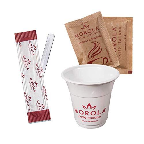 Kit de café desechable de 450 piezas – Juego de accesorios de café de plástico – 150 vasos de 80 ml, 150 bolsitas de azúcar de caña y 150 paletas de plástico