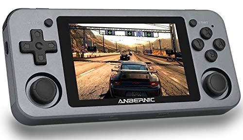 RG351M Consolas de Juegos Portátil , Consola de Juegos Retro Game Console 3.5 Pulgadas IPS Videojuegos Portátil Free with 64G TF Card Built-in 2500 Juegos Support PSP / PS1 / N64 / NDS (Gray)