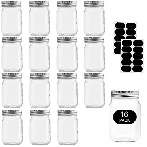 Glass Jars With Lids 12 oz, Mason Jars For Pickles And Kitchen Storage, Canning Jars Regular Mouth Spice Jars With Silver Lids For Drinking, Overnight Oats, Jelly, Dry Food, Spices, Salads, Yogurt- set 16 Pack With 20 Labels