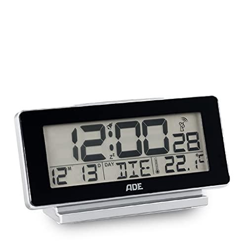 ADE Funk-Wecker CK1703-2 digital, Tischuhr schwarz, Wecker batteriebetrieben, Display-Beleuchtung, Temperatur-Anzeige