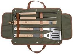 Esschert Design Grillbesteck in der Tasche, 4-teilig bestehen aus: Grillgabel, Grillzange, Wender, Pinsel
