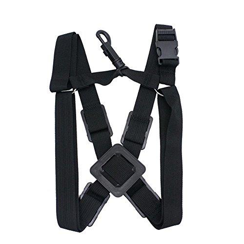 Professional Saxophone Strap Adjustable Sax Double Shoulder Strap Soft Harness for Baritone Alto Tenor Soprano Sax Musical Instrument Accessory (Black)