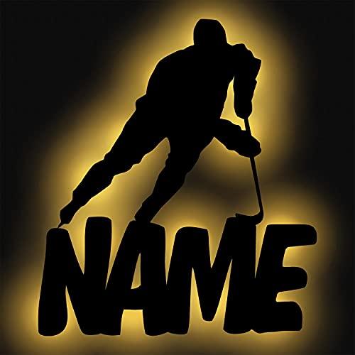 Schlummerlicht24 Led Wand Sport Lampe Eis Hockey mit Name, Geschenk für Eishockey Sportler Wohnzimmer Schlafzimmer Deko