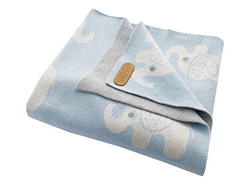 Bio Babydecke 100% Bio-Baumwolle (kbA) GOTS zertifiziert, Elefanten Blau, 80 x 100 cm