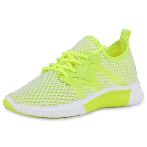 SCARPE VITA Damen Sportschuhe Laufschuhe Schnürer Fitness Schuhe Gym Sneaker Turnschuhe Netzoptik Trainingsschuhe 182029 Neon Gelb 36