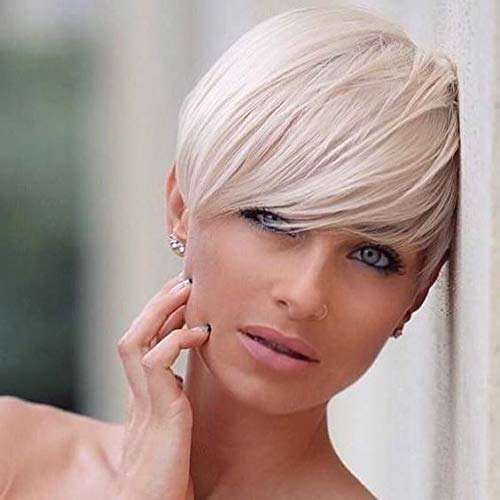 Emmor Short Platinum Blonde Blend Human Hair Wigs for Women Pixie Cut Wig With Bang,Natural Daily Use Hair (Color 600#)