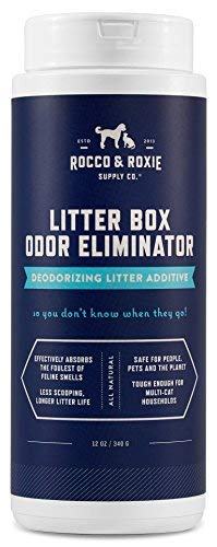 Rocco & Roxie Litter Box Odor Eliminator - Best Natural Urine Deodorizer for Cat Litter Boxes - You Won't Need to Change The Cat Litter as Often - Fresh Scent - Safe for Kitty (12 oz Bottle)
