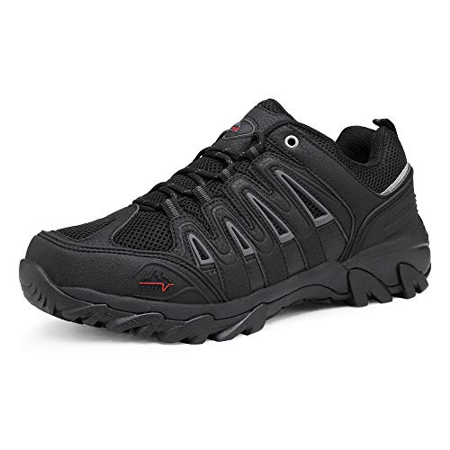 NORTIV 8 Men's Waterproof Hiking Shoes Low Top Lightweight Outdoor Trekking Camping Trail Hiking Shoes Black Dark Grey Red Size 11 M US Quest-2