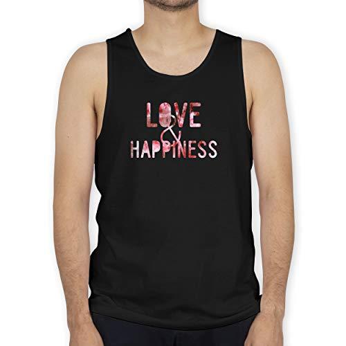 Shirtracer Statement - Love & Happiness Pink - XXL - Schwarz - Pink - BCTM072 - Tanktop Herren und Tank-Top Männer