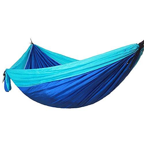 Hamac Swing Parachute Nylon Hamac Hamac de camping double léger et portable pour les voyages, la randonnée, le sommeil, la plage et le jardin Hamac de camping (Couleur: Bleu ciel bleu royal, Tail