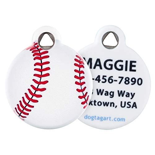 Dog Tag Art Baseball Pet ID Tag for Dogs and Cats Small Size