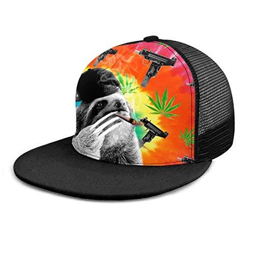 Gorra de béisbol Sloth Gangsta Smoking Dope Marihuana Weed Snapback plano Bill Hip Hop Sombreros de camionero para hombres y mujeres, color negro