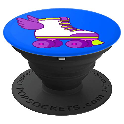Cute Gamer Girl 8-Bit Roller Skates Video Game Gift Blue PopSockets Grip and Stand for Phones and Tablets