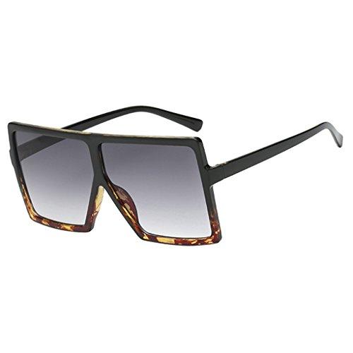 Colcolo Gafas de Sol Cuadradas Polarizadas para Mujer con Montura Grande Y Protección UV400 - Negro Leopardo Granja Gradiente Gris