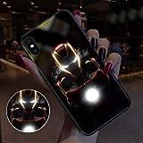 Étui Avengers Iron Man Spider-Man en Verre émettant De La Lumière, Coque Souple en Silicone pour Iphone 7p, 8p, X, XS, XR, Xsmax C-iphone x