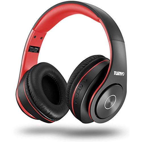 xiaofeng Head-Mounted Wireless Bluetooth Headset Heavy Bass Running Listening to Music Sports Card Noise Reduction Gaming Headset Mobile Phone Computer Xiaomi Huawei Apple Universal (Color : Red)