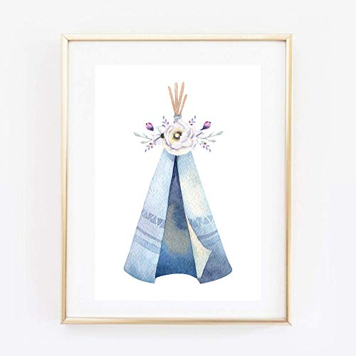 Din A4 Kunstdruck ungerahmt - Indianerzelt Tipi Blumen Boho Chic Romantik Aquarell Geschenk Druck...