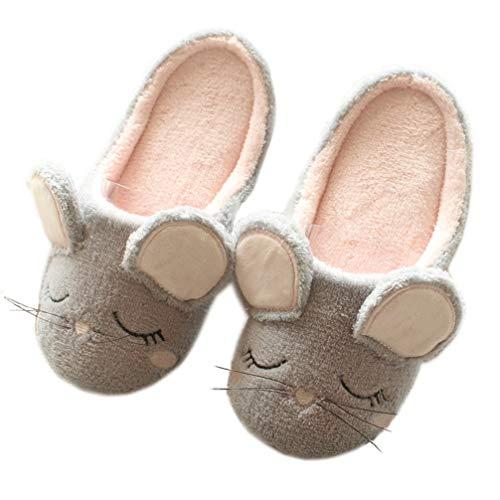Frauen Hausschuhe Herbst und Winter Tier Hausschuhe tragen Hausschuhe Maus Hausschuhe Weihnachten Hirsch Hausschuhe Innen warme Plüschboden Schuhe,40-41,Mouse