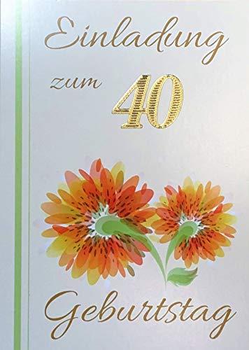 Uitnodigingskaarten 40e verjaardag vrouw man met binnentekst motief oranje bloem 10 vouwkaarten DIN A6 staand met witte enveloppen in set verjaardagskaarten uitnodiging 40 verjaardag man vrouw K184