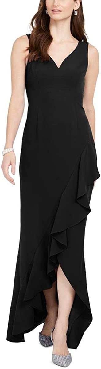 Adrianna Papell Women's Asymmetrical Ruffle Gown