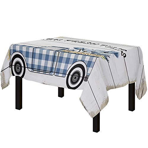 Yun Nist Tablecloths for Rectangle Table Farm Blue Car with Tulips Flowers, Cotton Linen Fabric Table Cover Tabletop Cloth for Dining Room Kitchen, Wooden Texture