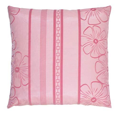 Huis en decoratie kussenhoes taft met bloemen sierkussen decoratief kussen kussensloop 40x40 of 50x50 cm in 4 kleuren modern 50x50 roze