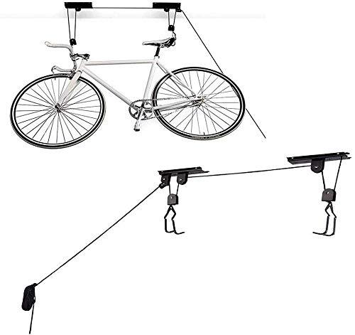 Elevación de la bici de la bicicleta for trabajo pesado gancho de montaje en techo de almacenamiento de elevación de garaje / cobertizo for bicicletas Vertical Titular cubierta sistema de suspensión c