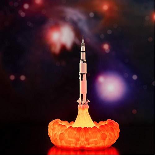 3D-Nachtlicht 3D-Druck Saturn V-Lampen Wiederaufladbares Nachtlicht Apollo 5 für Moon Land Space Lover als Raumdekoration