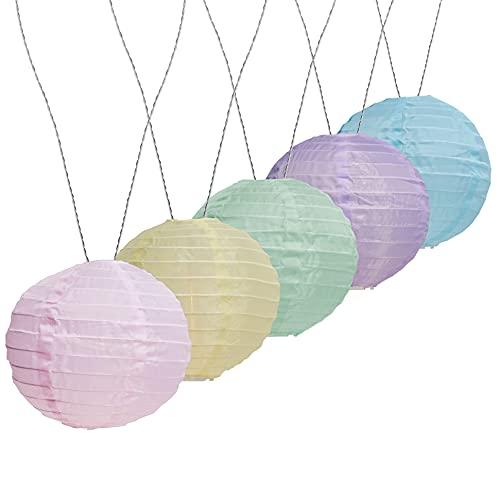 AMARE LED Lichterkette mit 15 XXL Lampions mit 15 cm Durchmesser, Solarbetrieb, pastellfarben