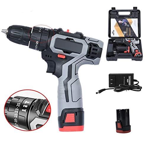 Martello Elettrico Drill cacciavite Elettrico 10 Millimetri 25 + 1 Coppia Cordless Impact Drill for 18V Mini Power Driver (Color : 2 Batteries)