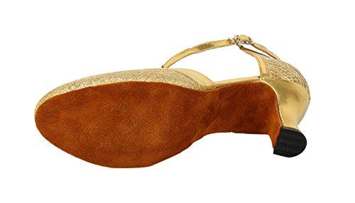 Honeystore Damen's Geschlossene Zehe T-Riemen Glitter Tanzschuhe Gold 6 UK - 2