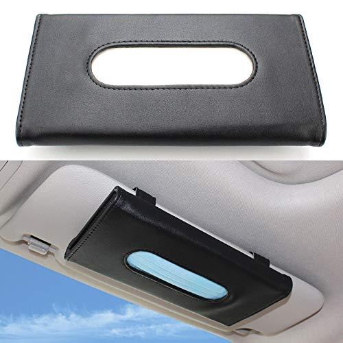 SUMK Car Visor Tissue Holder,PU Leather Tissue Box Case, Sun Visor Napkin Holder Backseat Tissue Case, Hanging Car Visor Tissue Holder for Universal Auto, Vehicle Accessories (Black)