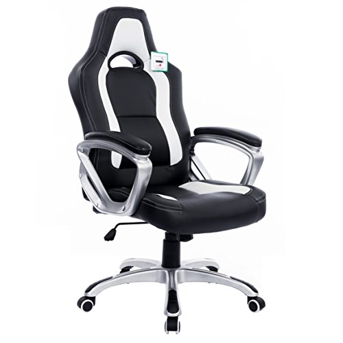 Cherry Tree Furniture Designed Gaming Chair Racing Sport Style Swivel Office Chair Computer Desk Chair in Black White Color