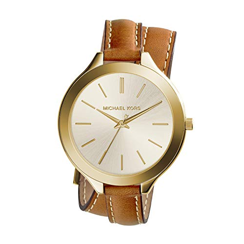 Polished gold tone watch featuring brushed round dial with logo, stick indices, and arrow seconds hand 42 mm stainless steel case with mineral dial window Quartz movement with analog display Leather wrap band with topstitching and buckle closure Wate...