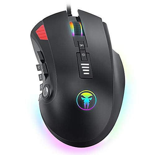 RGB Gaming Mouse Wired Programmable Ergonomic Game Computer Mice Gamer Desktop Laptop PC Gaming Mouse, 13 Buttons for Windows XP 95/98/2000/ME/NT Vista/7/8/10,Black UV Coating