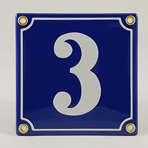 Hausnummer Emaille Schild Nr. 3 Blau-Weiß