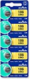 Murata LR43 Battery 1.55V Alkaline Button Cell - Replaces Sony LR43 (5 Batteries)
