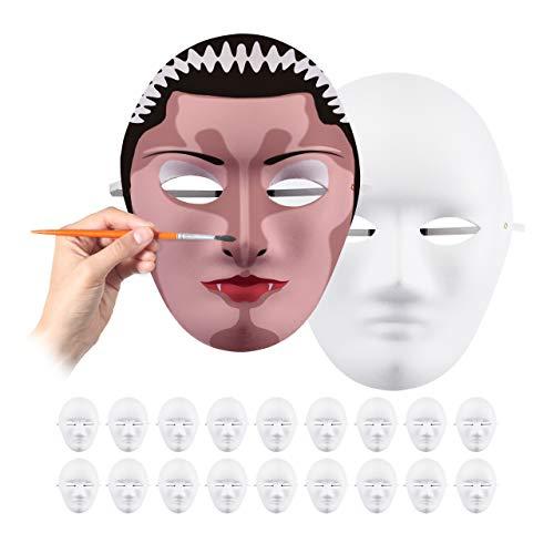 Relaxdays Blancas Pack de 20 Máscaras, Caretas para Pintar, Manualidades, Carnaval, Teatro, Cartón, 24 x 18,5 x 8 cm