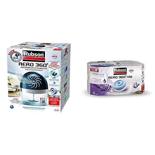 Rubson AERO 360º Déshumidificateur d'Air pour la Maison, Absorbeur d'Humidité et Anti Odeurs pour Pièces de 20 m², avec un Lot de 4 Recharges Parfumées à la Lavande de 450 g