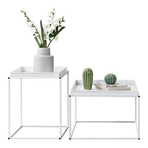 [en.casa] Mesa Bandeja Set de 2 mesas auxiliares 39 x 54,5 x 54,5 cm y 55,5 x 54 x 40 cm Mesa para Servir té o Comida Blanco Mate