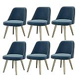 WYBW Juego de 6 sillas de comedor para el hogar, de franela, para salón, ocio, sala de estar, esquina, recepción, con respaldo suave, color azul