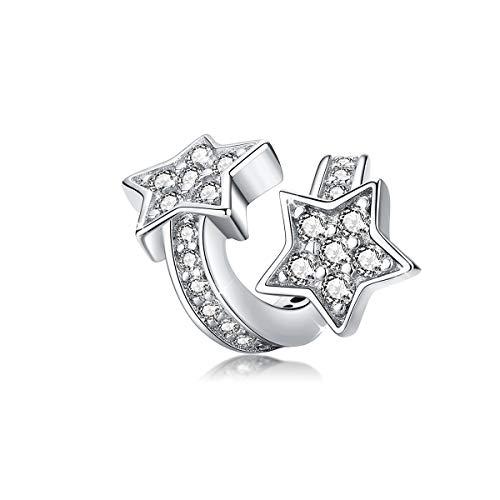 Ciondolo a forma di stella, in argento Sterling 925, con zirconia cubica, compatibile con braccialetti e collane Pandora.