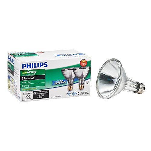 Philips 429365 Halogen PAR30L 75 Watt Equivalent 25 Degree Flood Light Bulb, 2 Pack