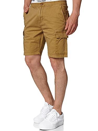 Indicode Uomo Kinnaird Pantaloncini Chino Cargo con 6 Tasche 98% Cotone | Corto Stretch Pantalone Regular Fit Bermuda per Uomo Men Pants Chino Amber M