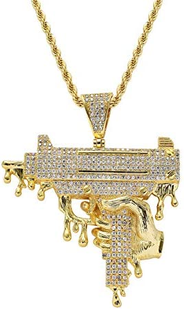 Moca Jewelry Iced Out Exquisite Hand Gun Big Size Pendant 18K Gold Plated Bling CZ Simulated product image
