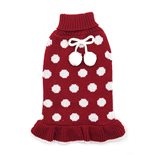 kyeese Dog Sweater Dress Turtleneck Dog Sweaters for Large Dogs Polka Dot Knit Pullover Warm Pet Sweater for Fall Winter