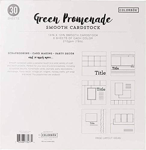 "Colorbok 78lb Smooth Cardstock 12/""X12/"" 30//Pkg-Blue Promenade 5 Colors//6 Each"