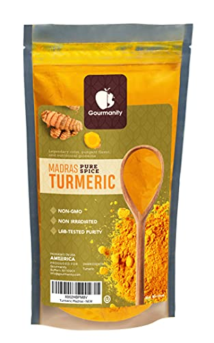 Gourmanity 1lb Madras Turmeric Spice, Turmeric Powder, Turmeric For Cooking, Ground Turmeric Curcumin, Bulk Turmeric Powder, Pure Turmeric Powder, Non-GMO, Non-irradiated, Kosher